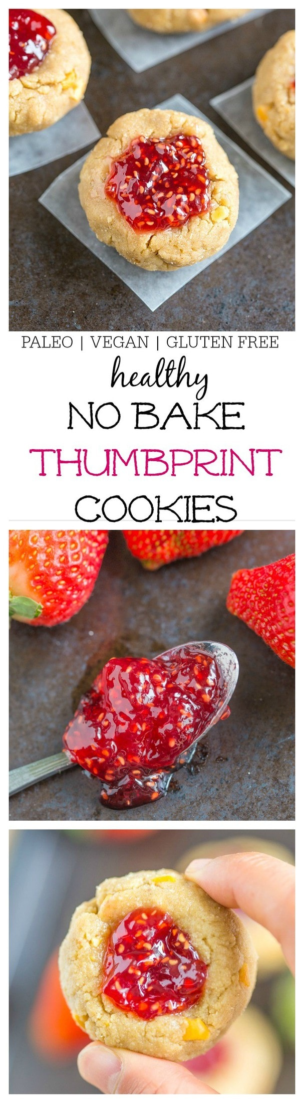 Healthy No Bake Thumbprint Cookies- Ready in 10 minutes + Vegan, GF + Paleo- @thebigmansworld - thebigmansworld.com