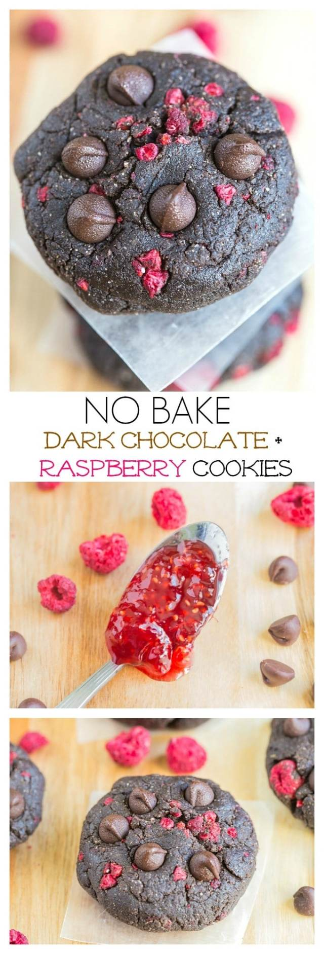 Healthy No Bake Dark Chocolate + Raspberry Cookies- Ready in 10 minutes, these delicious healthy snacks are vegan, gluten free, refined sugar free and have a paleo and high protein option! @thebiigmansworld - thebigmansworld.com