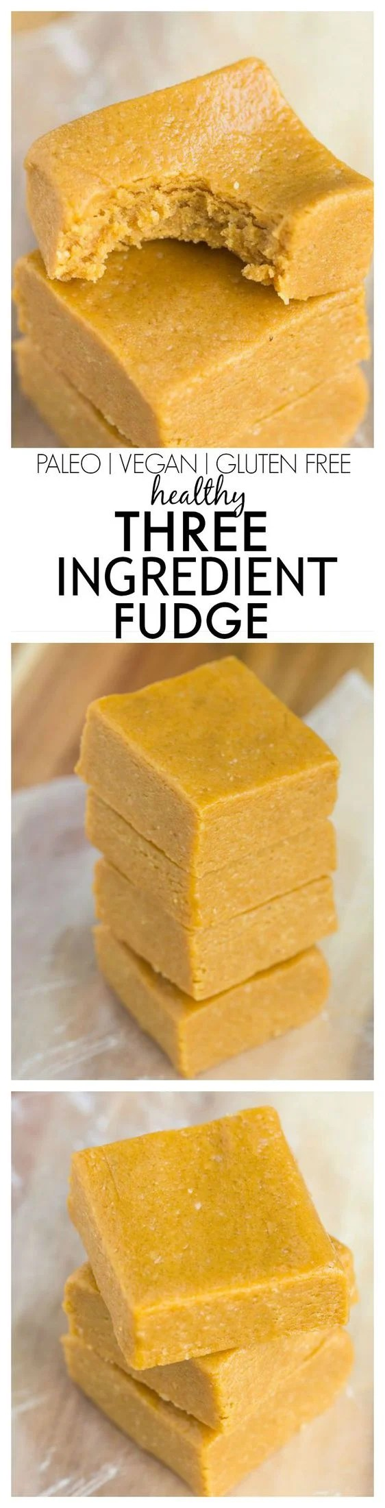 Three Ingredient No Bake Fudge which melts in your mouth and takes 5 minutes! Paleo, vegan and gluten free too!