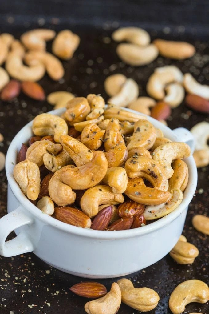 Airplane Style Warm Nuts- Tested out three ways, these nuts are a delicious appetiser or snack chock full of spices!