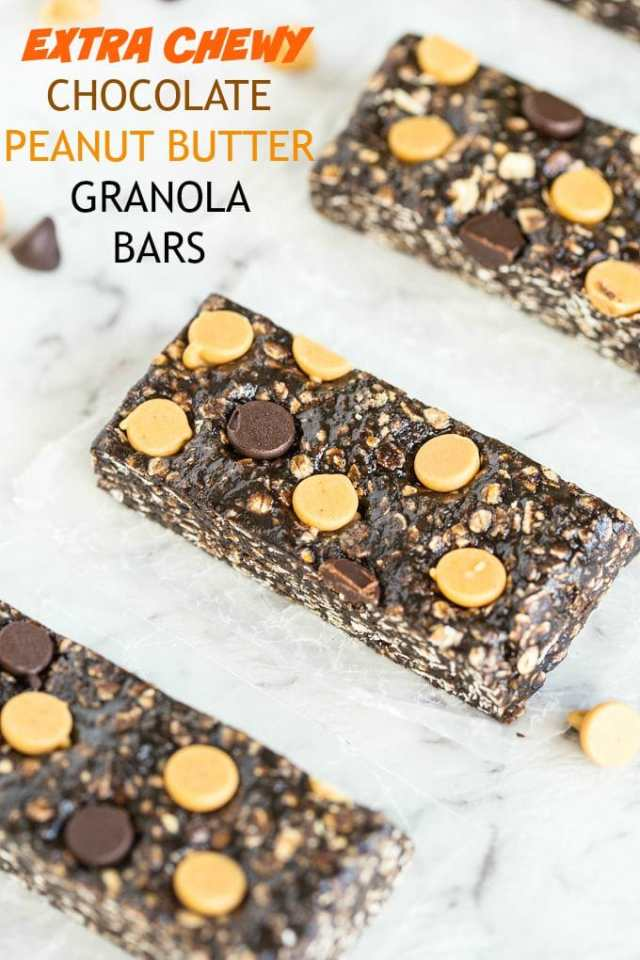 Extra Chewy Chocolate Peanut Butter Granola Bars-No bake and ready in 5 minutes, they are gluten free, over 20 grams of protein and a vegan option too- A delicious snack!