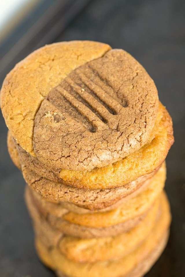 3 Ingredient Flourless Peanut Butter Nutella Cookies- Quick and easy, Soft and chewy grain free cookies which has the best of both worlds- There is a trialled paleo + vegan version too!