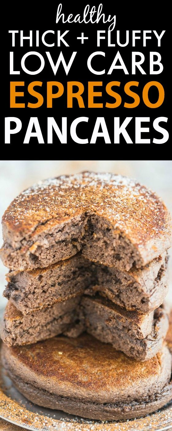 Healthy THICK and FLUFFY Espresso Coffee Pancakes loaded with protein and made with NO sugar and NO grains and LOW CARB! {vegan, gluten free, sugar free, paleo recipe}- thebigmansworld.com