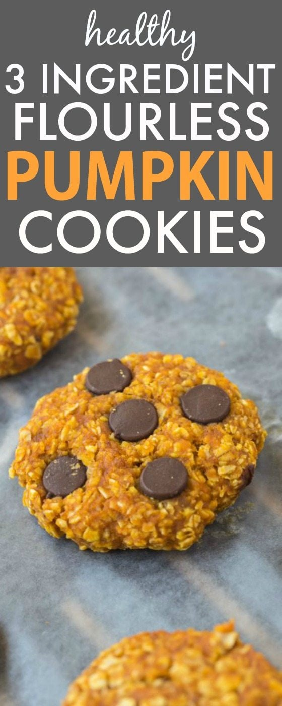 Healthy 3 Ingredient Flourless Pumpkin Cookies- Chewy, Easy, quick and just three ingredients, these cookies have no butter, flour and can be completely sugar free! {vegan, gluten-free, dairy free recipe}- thebigmansworld.com