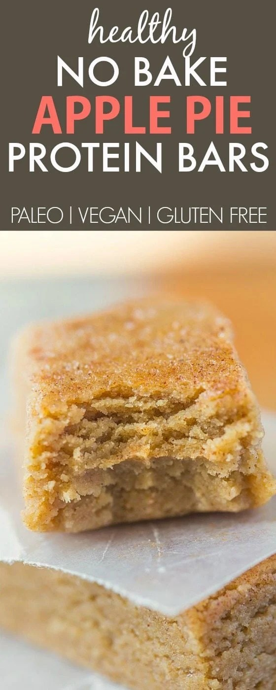 Healthy No Bake Apple Pie Protein Bars- Just 10 minutes and 1 bowl to whip these up- Soft, chewy and no refrigeration needed- They taste like dessert! {vegan, gluten free, paleo recipe}- thebigmansworld.com