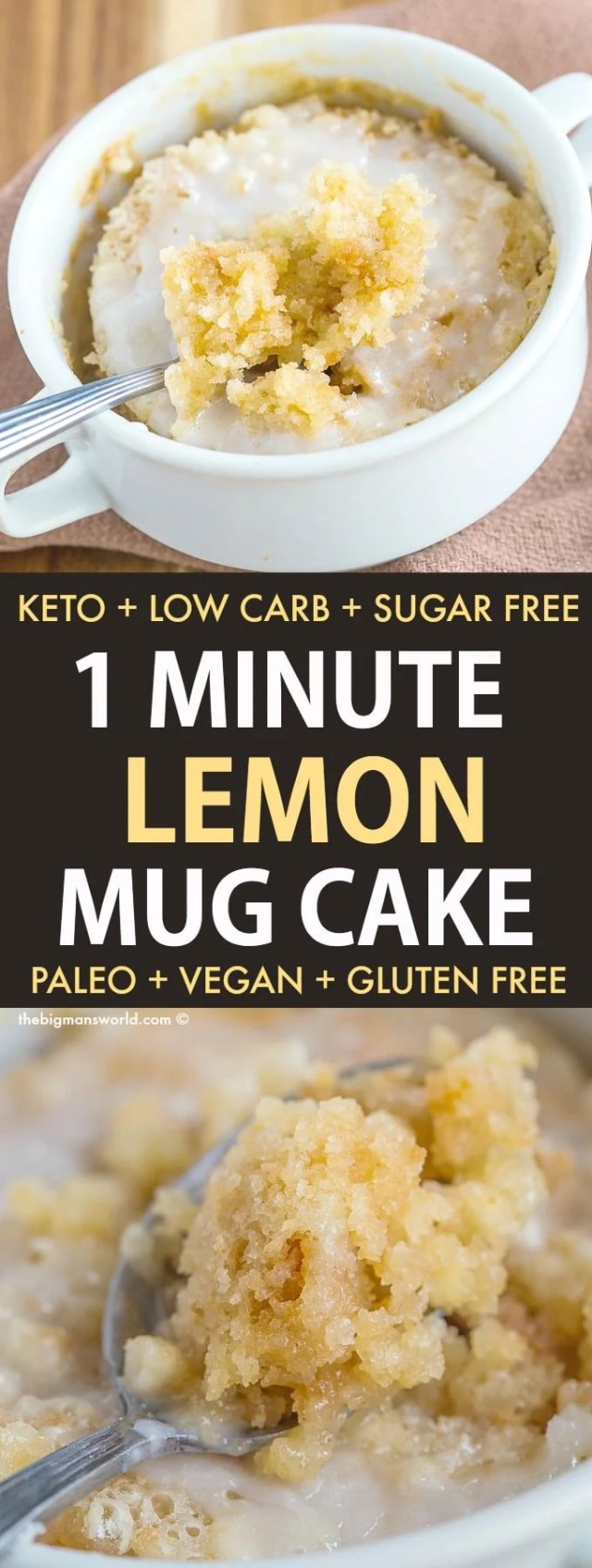 An easy low carb, keto and paleo mug cake that tastes like a Meyer lemon cake!
