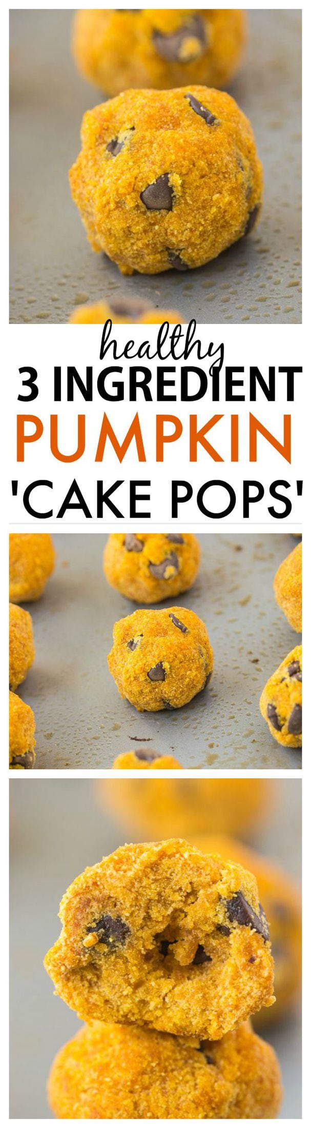 Healthy 3 Ingredient Pumpkin Cake Pops- Three easy ingredients and 10 minutes- You be in control of the texture- Soft or dense! High in fiber and very low in fat! {Vegan, gluten-free + paleo friendly} - thebigmansworld.com