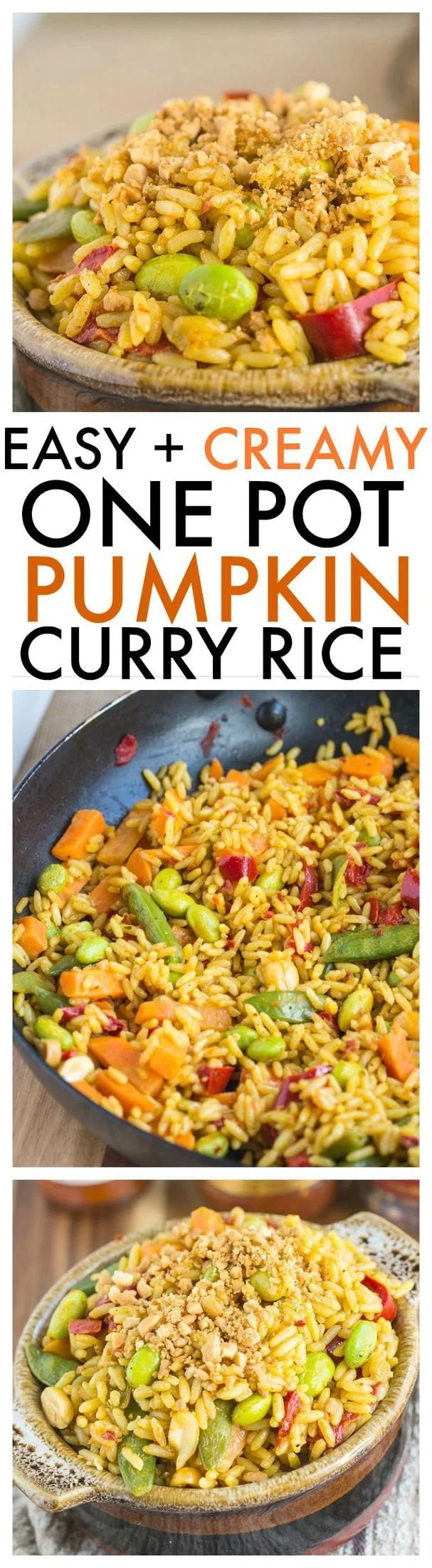 Creamy One Pot Pumpkin Curry Rice- Less than 20 minutes to a healthy bowl of comfort- Quick, easy and delicious, you can enjoy as it is or add some protein to it! {vegan, gluten-free, dairy-free} -thebigmansworld.com