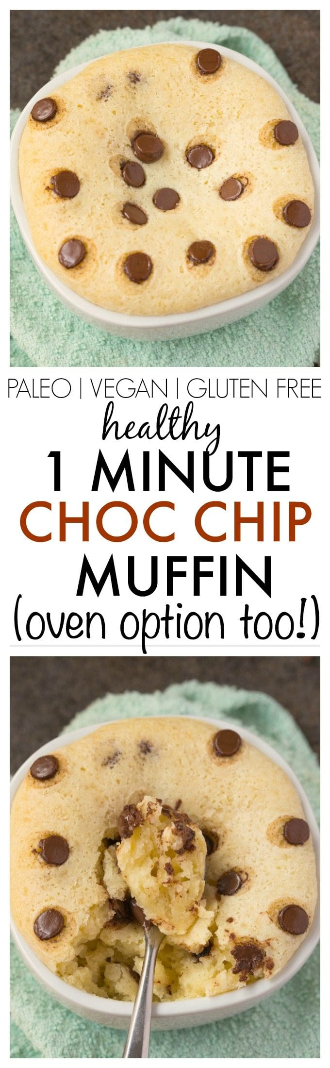Healthy One Minute Chocolate Chip Muffin Recipe- SUPER fluffy, moist, yet tender on the outside and less than 100 calories and ONE ready in minute- An oven version too! {vegan, gluten free, paleo recipe}-thebigmansworld.com
