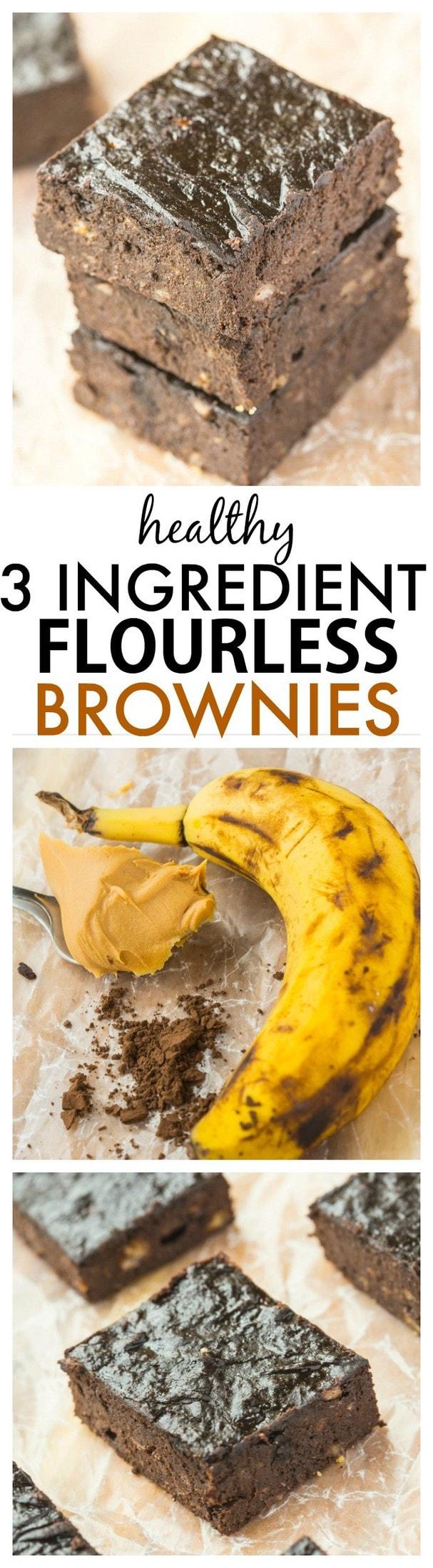 Healthy 3 Ingredient Flourless Brownies