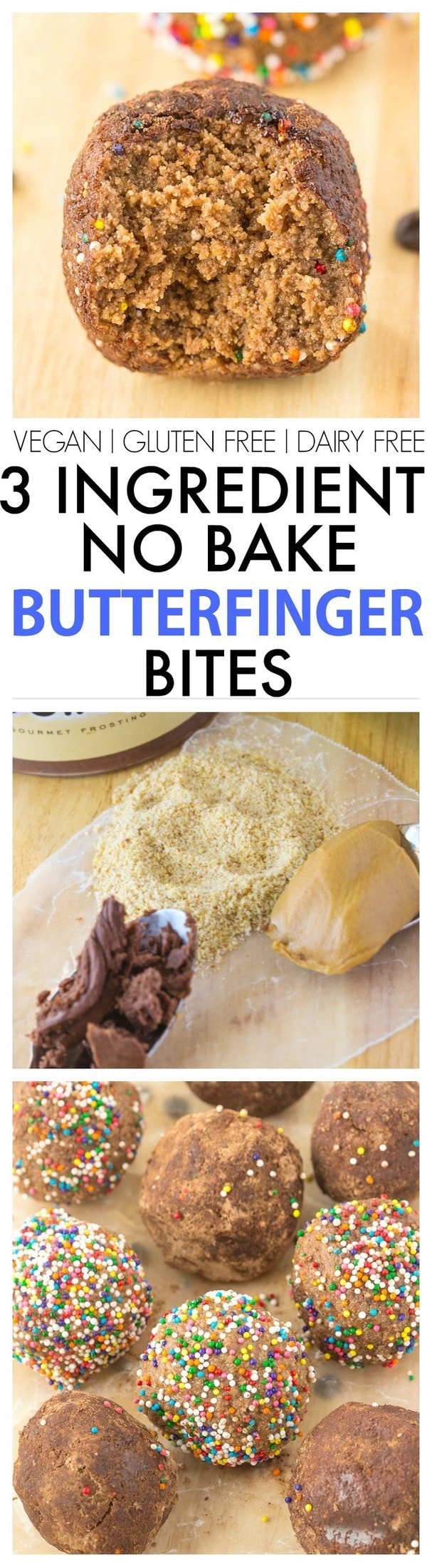 Three Ingredient No Bake Butterfinger Bites Recipe- Quick, easy and SO delicious, you won't believe how delicious and unique this recipe is using leftover bread! {vegan, gluten free, dairy free options}