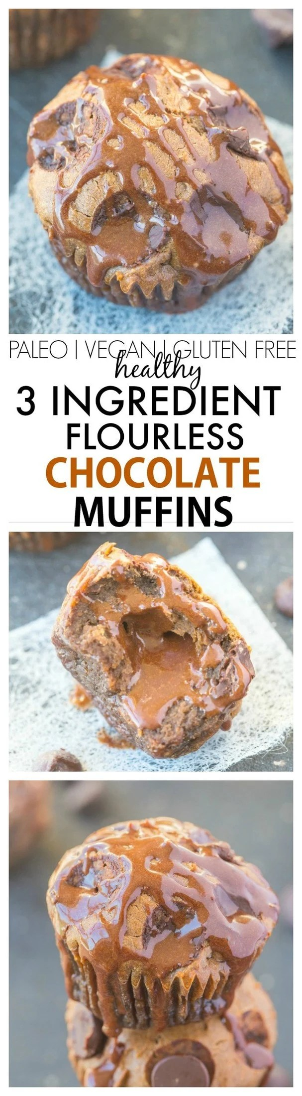 Just THREE ingredients are needed to make these healthy flourless chocolate muffins- No butter, oil, flour and the option to add sugar! {gluten free, paleo, vegan options}