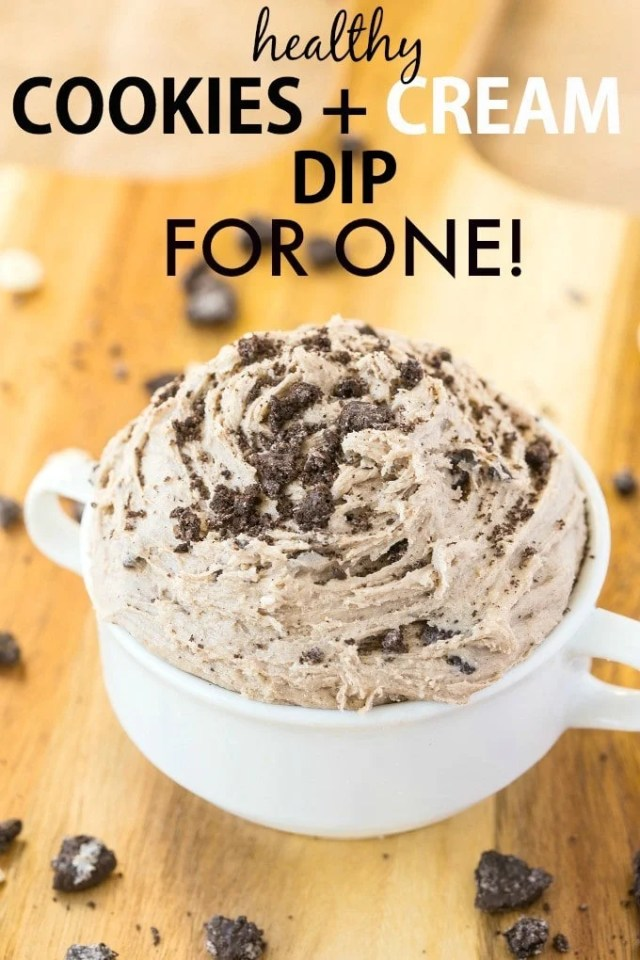 Healthy Cookies and Cream Dip for ONE! Smooth, creamy and sinfully nutritious, this quick and easy dip is packed full of the healthy stuff WITHOUT tasting healthy! {vegan, gluten free, paleo, high protein}