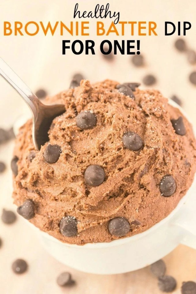 Healthy Brownie Batter Dip for ONE- Smooth, creamy and ready in five minutes, there is NO butter, white flour, sugar or oil but doesn't taste 'healthy'! {vegan, gluten free, paleo, high protein recipe}- thebigmansworld.com