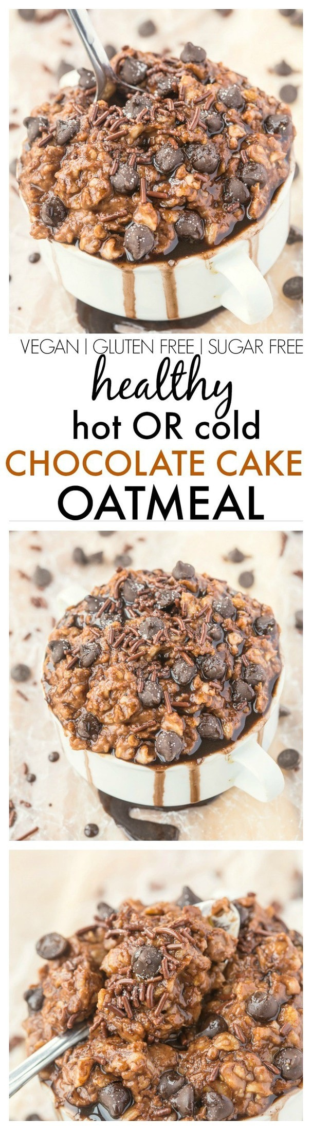 Healthy Chocolate Cake Oatmeal which can be enjoyed hot OR cold (refrigerator style!) and is completely sugar free! {vegan, gluten free, high protein recipe}- thebigmansworld.com