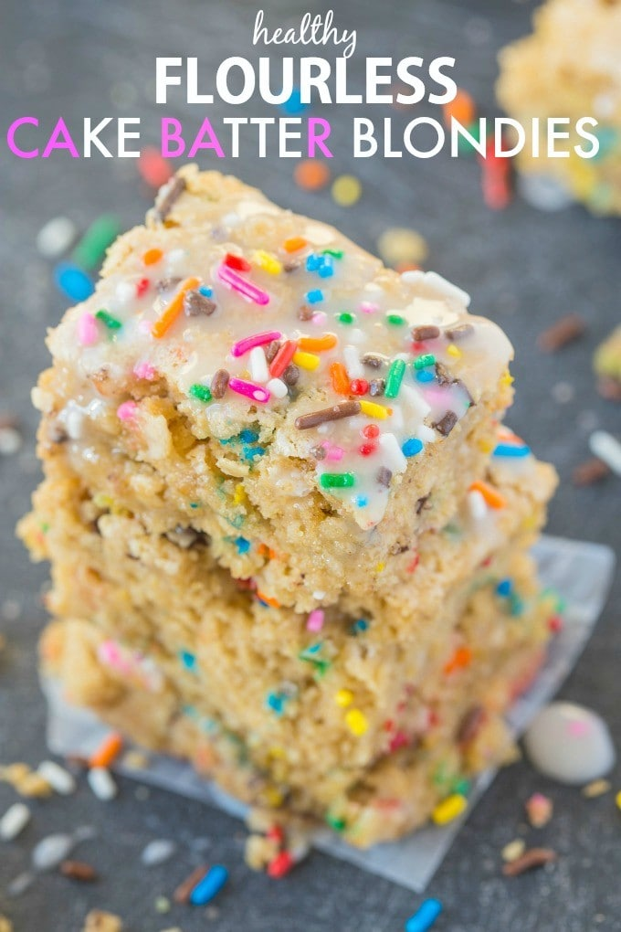 Healthy FLOURLESS Cake Batter Blondies- NO butter, oil or sugar added and SO moist and gooey on the inside while tender on the outside! {vegan, gluten free, sugar free recipe