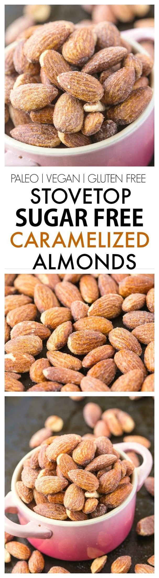 Stovetop Sugar Free Caramelized Nuts- Using a natural granulated sweetener, it's completely sugar free and SO delicious, made over the stove! {vegan, gluten free, paleo recipe}