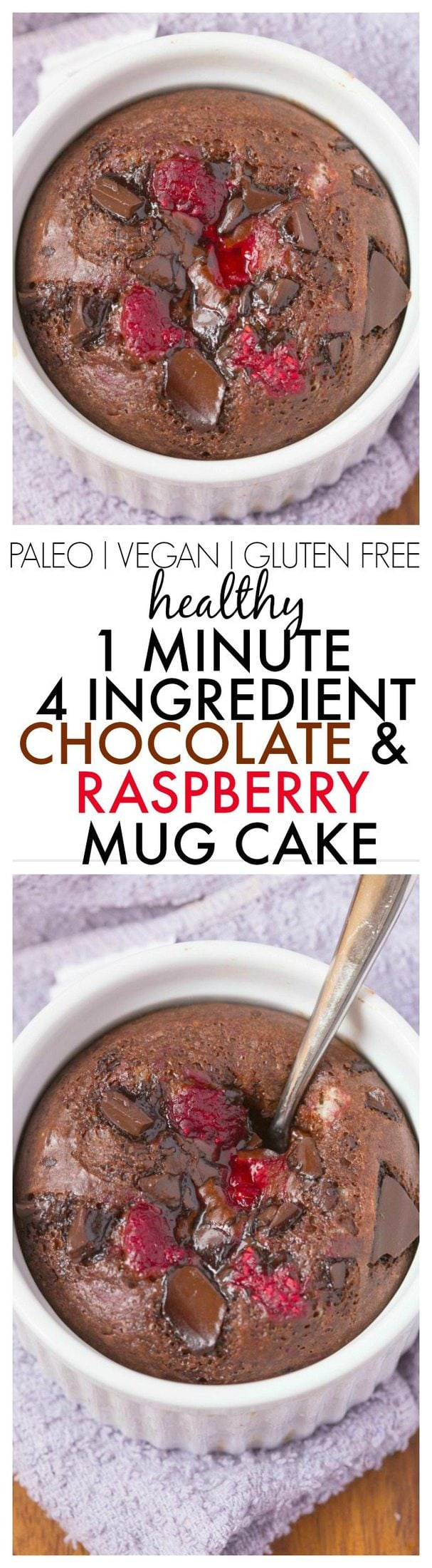 Healthy 4 Ingredient 1 Minute Chocolate Raspberry Cake