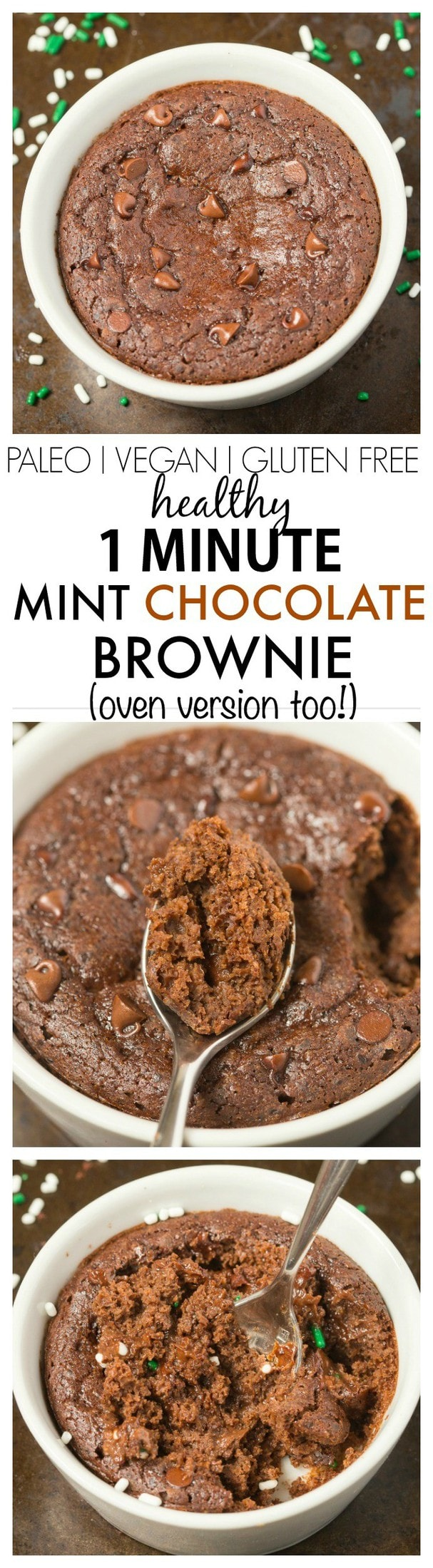 Healthy 1 Minute Chocolate Brownie with an optional hint of mint- SO moist, fudgy and loaded with chocolate flavor but with NO butter, oil, sugar or white flour- Oven option too! {vegan, gluten free, paleo recipe}- thebigmansworld.com