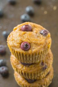 Healthy 5 Ingredient Banana Blueberry Muffins which are SO moist, gooey yet tender on the outside with NO butter, oil, sugar or grains! {vegan, gluten free, paleo recipe}- thebigmansworld.com