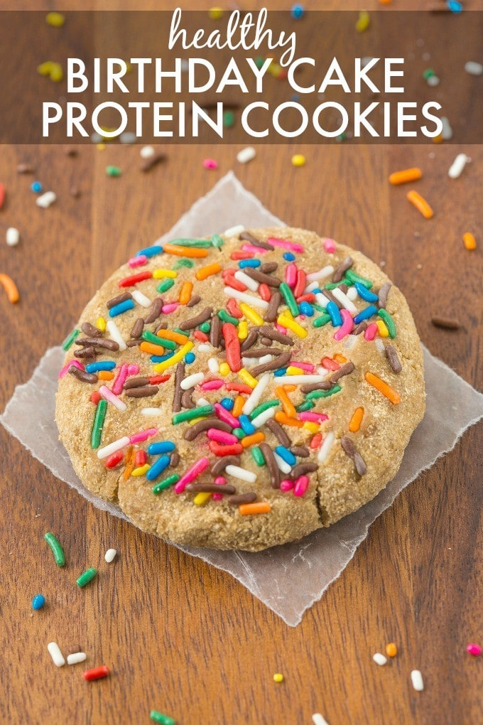 Healthy Birthday Cake Protein Cookie- Soft and chewy cookie which is healthy but you'd never tell- So quick, easy and loaded with protein and NO sugar! {vegan, gluten free, paleo recipe}- thebigmansworld.com