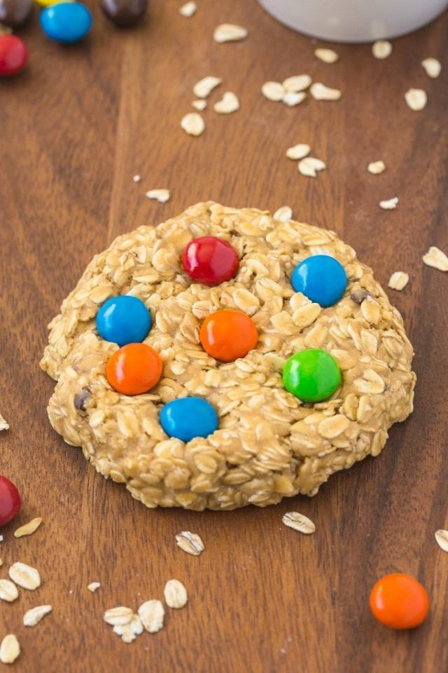Healthy No Bake GIANT Monster Cookie For ONE! Soft and extra chewy cookie with NO butter, oil, flour or sugar- Ready in 5 minutes! {vegan, gluten free, dairy free recipe}- thebigmansworld.com