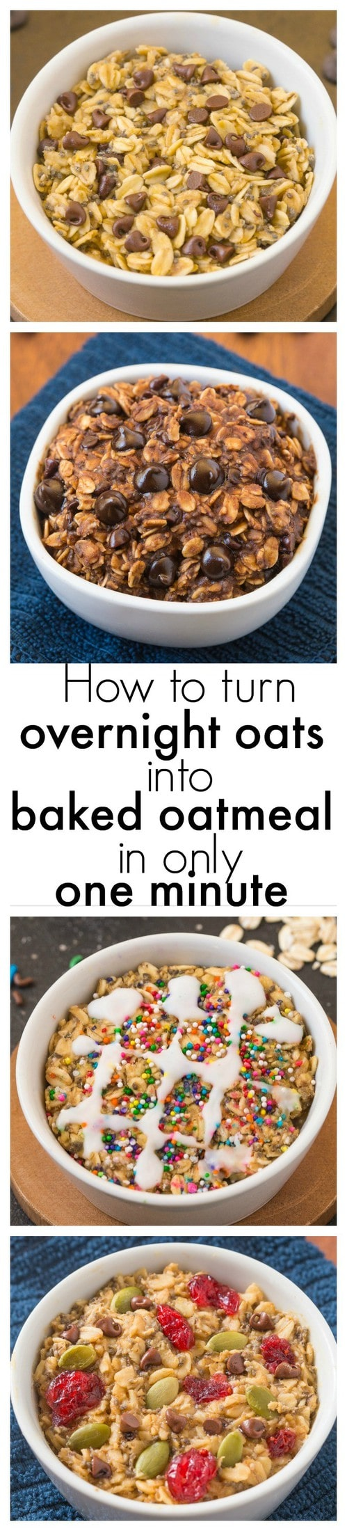 How to turn overnight oats into baked oatmeal in just ONE minute!