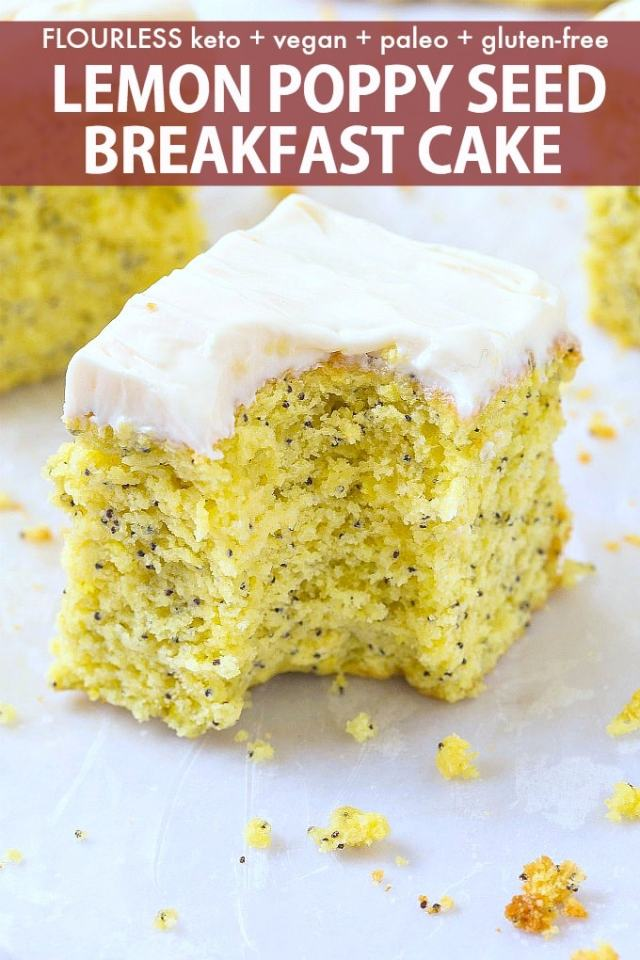 A slice of healthy low carb flourless lemon poppy seed breakfast cake topped with a healthy cream cheese frosting!