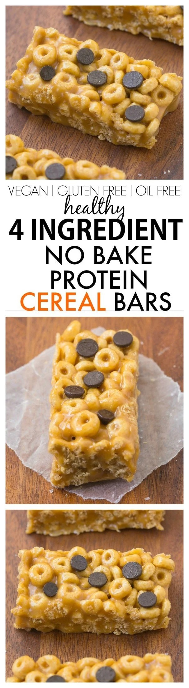 Healthy 4 Ingredient No Bake Protein Cereal Bars- Super easy, healthy, homemade protein cereal bars with NO nasties at all! {vegan, gluten free, oil free recipe}- thebigmansworld.com