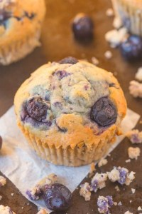 Healthy Flourless Blueberry Breakfast Muffins made with NO butter, oil, flour or sugar but you'd never tell- Easy AND delicious! {vegan, gluten free, paleo recipe}- thebigmansworld.com