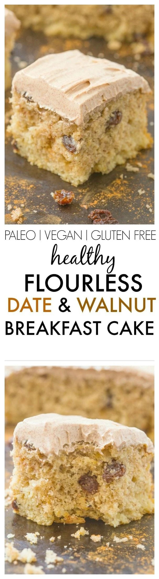 Healthy Flourless Date and Walnut Breakfast Cake naturally sweetened and made with NO butter, oil, flour or sugar but 100% delicious and satisfying and EASY! {vegan, gluten free, paleo recipe}- thebigmansworld.com