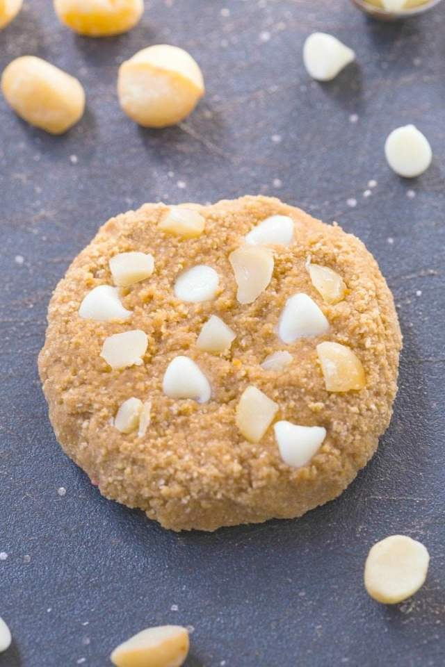 Healthy White Chocolate and Macadamia Nut Protein Cookies made with NO grains, butter, oil, sugar and SO much better than store bought! {vegan, gluten free, paleo recipe}- thebigmansworld.com