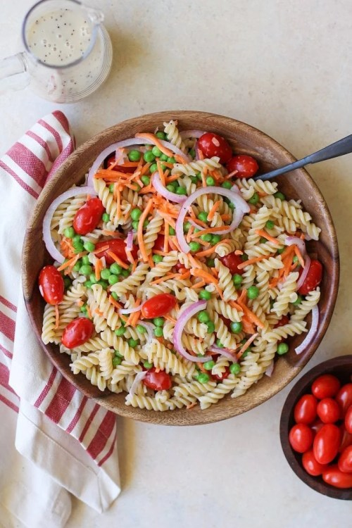 Pasta Salad with a lemon poppy seed dressing