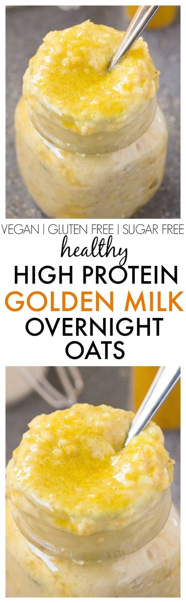 Healthy High Protein Golden Milk Overnight Oats - Packed with superfoods and nutrients boasting better digestion and antioxidants, this satisfying breakfast bowl is delicious AND sugar free! {vegan, gluten free, dairy free recipe}- thebigmansworld.com