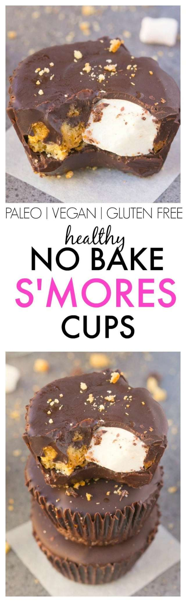 Healthy NO BAKE S'mores Cups- Easy, delicious and secretly healthy, these no-fuss, no-mess snacks/desserts are a huge hit! {vegan, gluten free, paleo recipe}- thebigmansworld.com