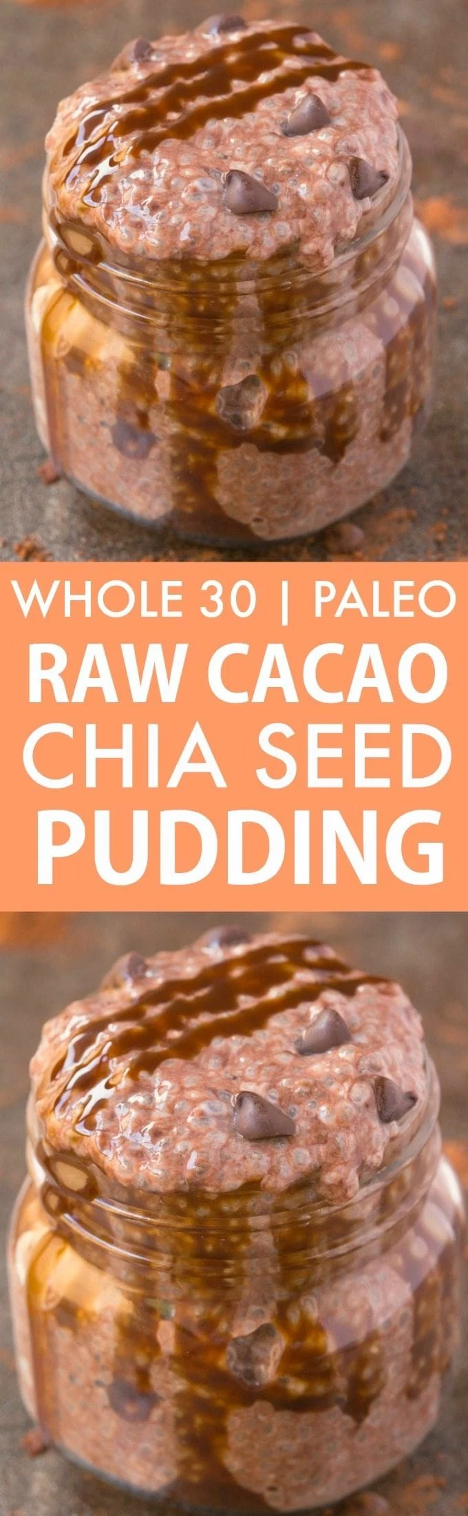 Healthy Raw Cacao Chia Seed Pudding (Whole 30, Paleo, V, GF)- Whole30 approved chia seed pudding- Thick, creamy, satisfying, filling and perfect for breakfast or a snack- Sugar free and dairy free too! {whole 30, paleo, vegan, gluten free recipe}- thebigmansworld.com