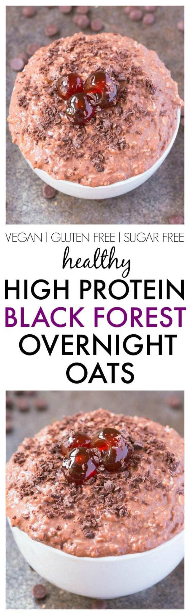 Healthy Black Forest Overnight Oats which taste JUST like a black forest cake, minus all the nasties! NO sugar and packed with protein- Dessert for breakfast! {vegan, gluten free, sugar free recipe}- thebigmansworld.com
