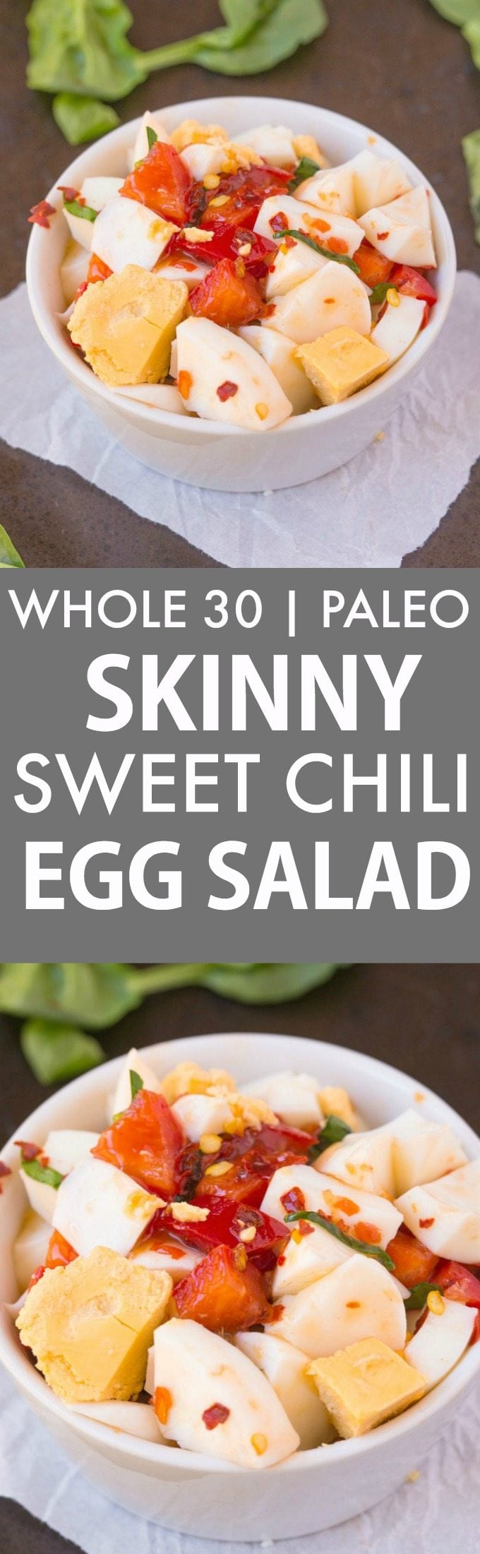 Whole 30 Skinny Sweet Chili Egg Salad (Whole30, Paleo, Gluten Free)- Quick, easy and delicious, this mouthwatering and simple egg salad is a huge hit- Low carb and low calorie! {paleo, gluten free, grain free, whole 30}- thebigmansworld.com