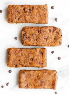 Healthy THREE Ingredient No Bake Cookie Dough Protein Bars- NO flour, grains, sugar, butter or oil and naturally sweetened- Seriously, SO Fudgy and just like cookie dough! {vegan, gluten free, paleo recipe} - thebigmansworld.com