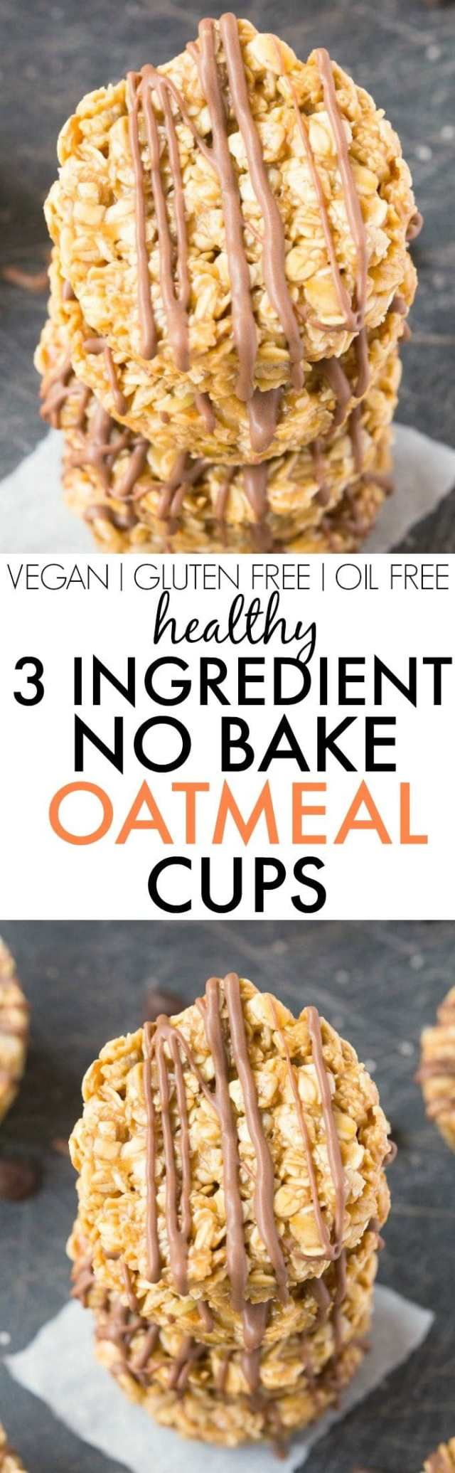 Healthy 3 Ingredient No Bake Oatmeal Cups- Quick, easy and delicious no bake oatmeal bars made into cups and PERFECT for snacks, back to school, lunch box or even dessert! Ready in FIVE minutes FLAT! {vegan, gluten free, dairy free recipe}- thebigmansworld.com