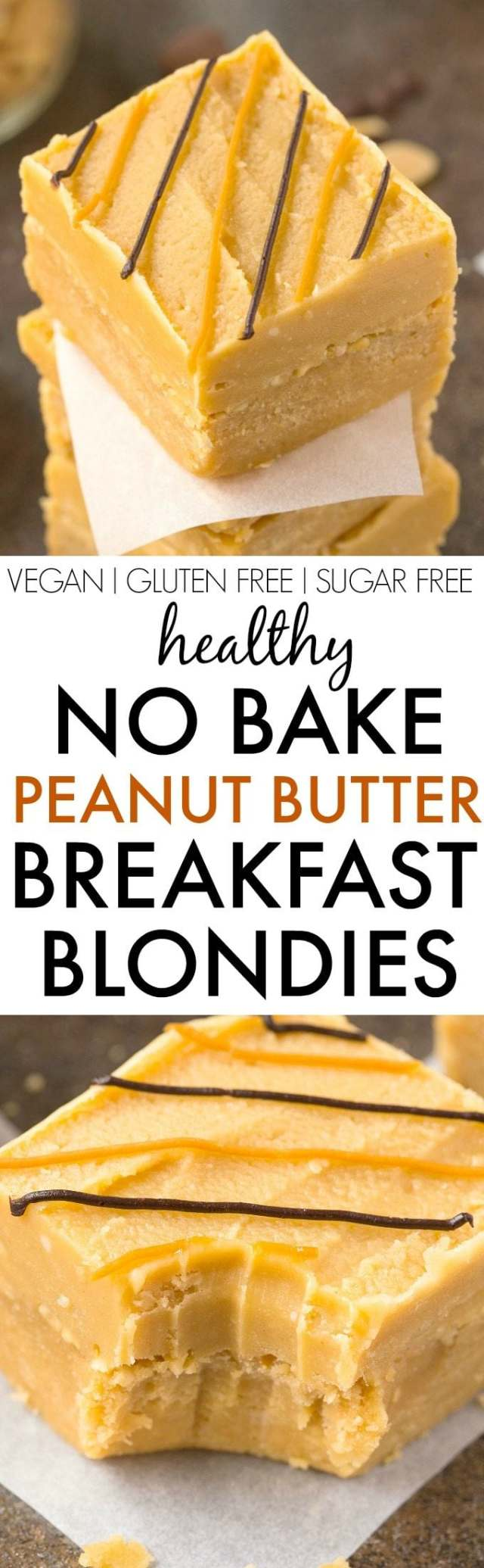 Healthy NO BAKE Peanut Butter BREAKFAST Blondies- Thick, chewy and like having dessert for breakfast but healthy- NO nasties and packed with protein- Nut free and peanut free option too! {vegan, gluten free, paleo recipe}- thebigmansworld.com