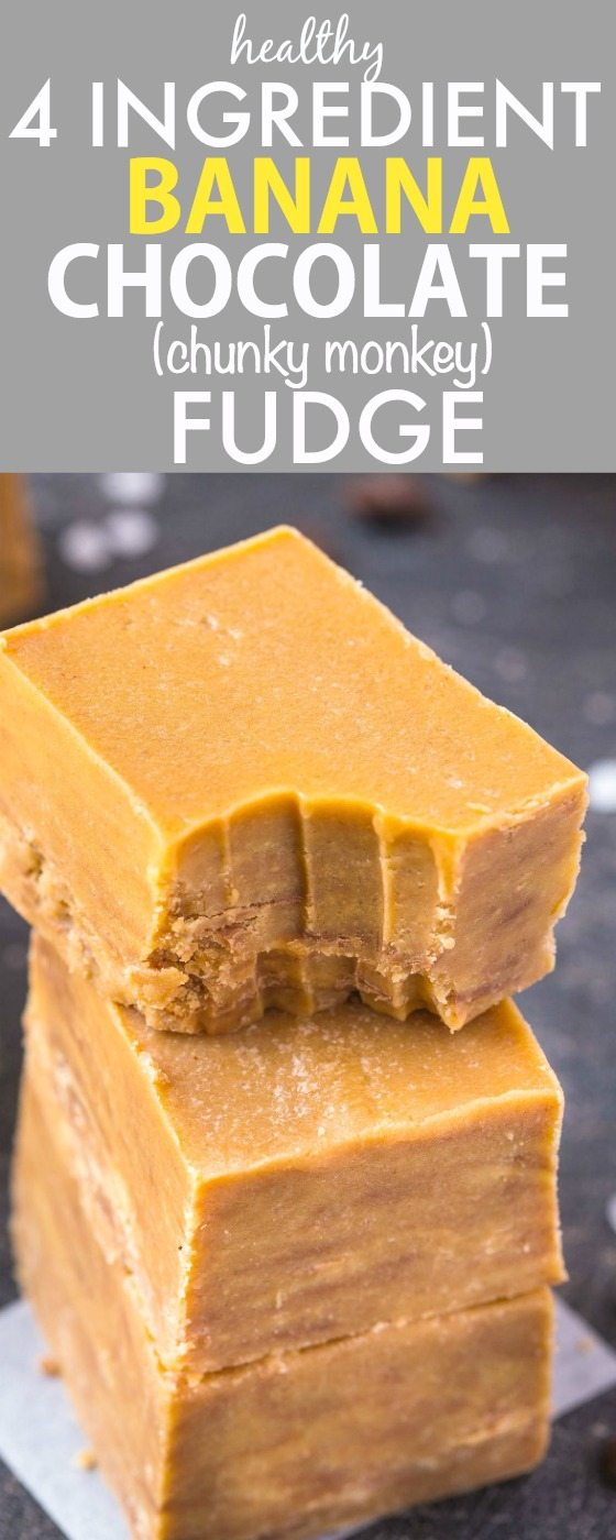 Healthy 4 Ingredient Banana Chocolate (CHUNKY MONKEY) Fudge- Smooth, creamy and ready in MINUTES, this quick, easy and delicious no bake fudge has NO butter, dairy, white sugar, grains or flour and perfect to use up overripe bananas! {vegan, gluten free, refined sugar free, paleo recipe}- thebigmansworld.com