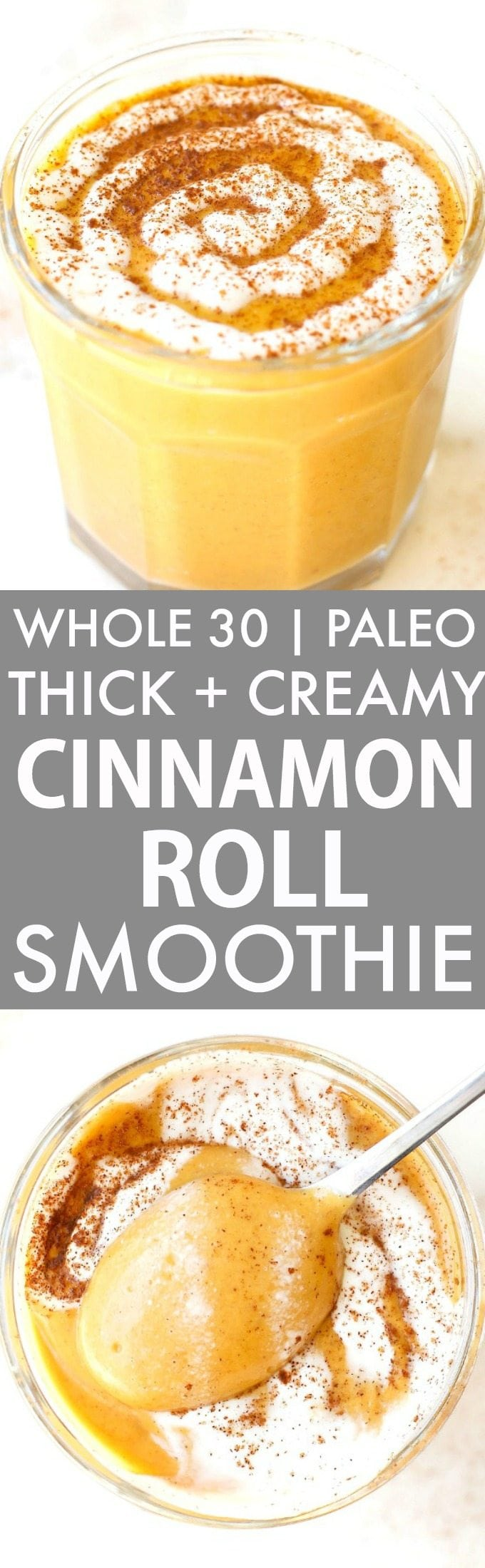 Thick and Creamy Cinnamon Roll Smoothie (Whole 30, Paleo, V, GF)- Healthy, Wholesome, hearty and EASY, this thick and creamy smoothie is JUST like a cinnamon roll- Cozy, comforting and keeps you satisfied and filling! Enjoy hot or cold! {whole30, paleo, vegan, gluten free recipe}- thebigmansworld.com