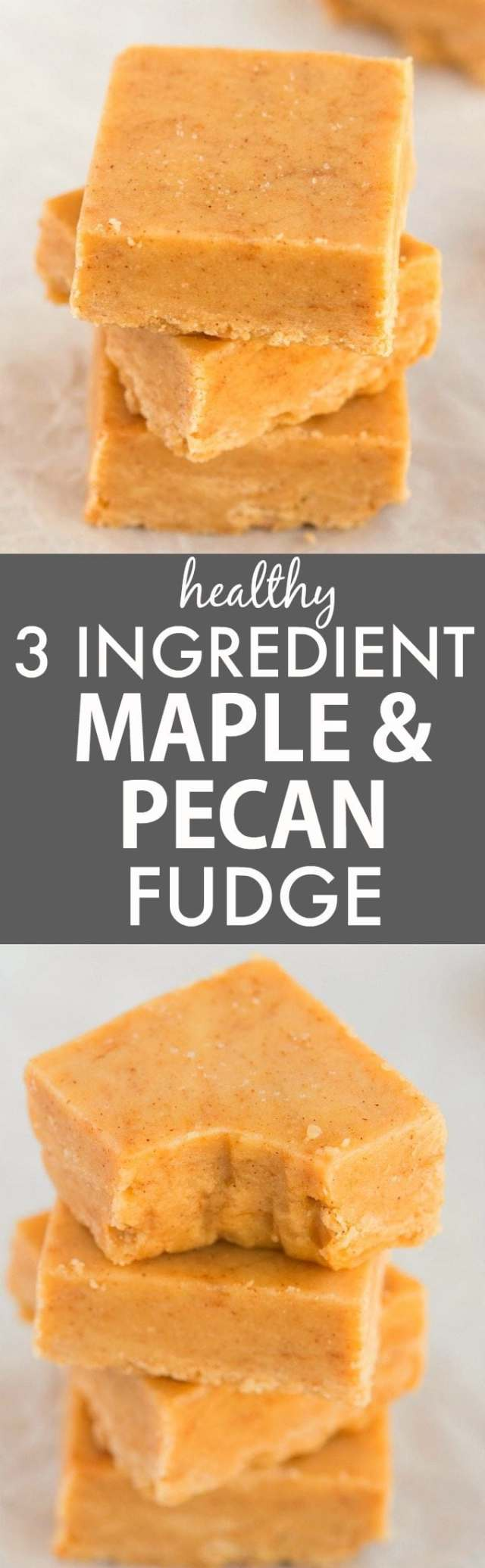 Healthy 3 Ingredient Maple Pecan Fudge (V, GF, Paleo)- Smooth, creamy and melt-in-your mouth fudge which takes minutes and has NO dairy, refined sugar or butter but you'd never tell- A delicious snack or dessert! {vegan, gluten free, paleo recipe}- thebigmansworld.com