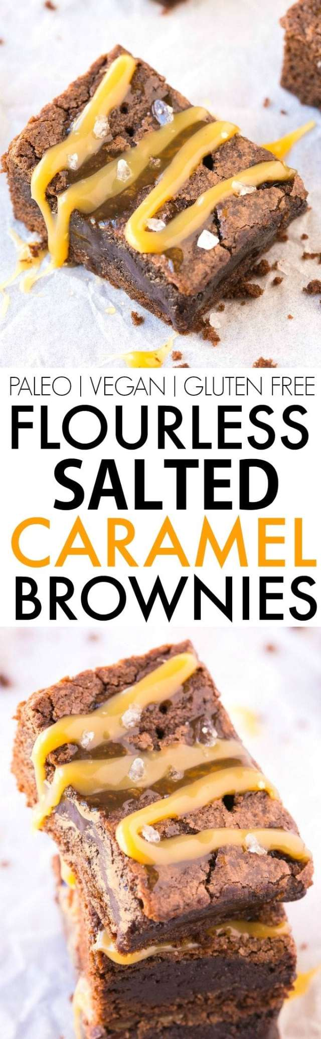 Flourless Salted Caramel Fudge Brownies (V, GF, Paleo)- Healthier flourless fudge brownies using just 6 ingredients and with a clean eating caramel sauce! BETTER than any boxed mix and NO flour or butter! The perfect dessert, holiday treat or snack! {vegan, gluten free, paleo recipe}- thebigmansworld.com