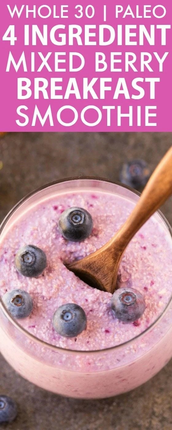 4 Ingredient Mixed Berry Breakfast Smoothie