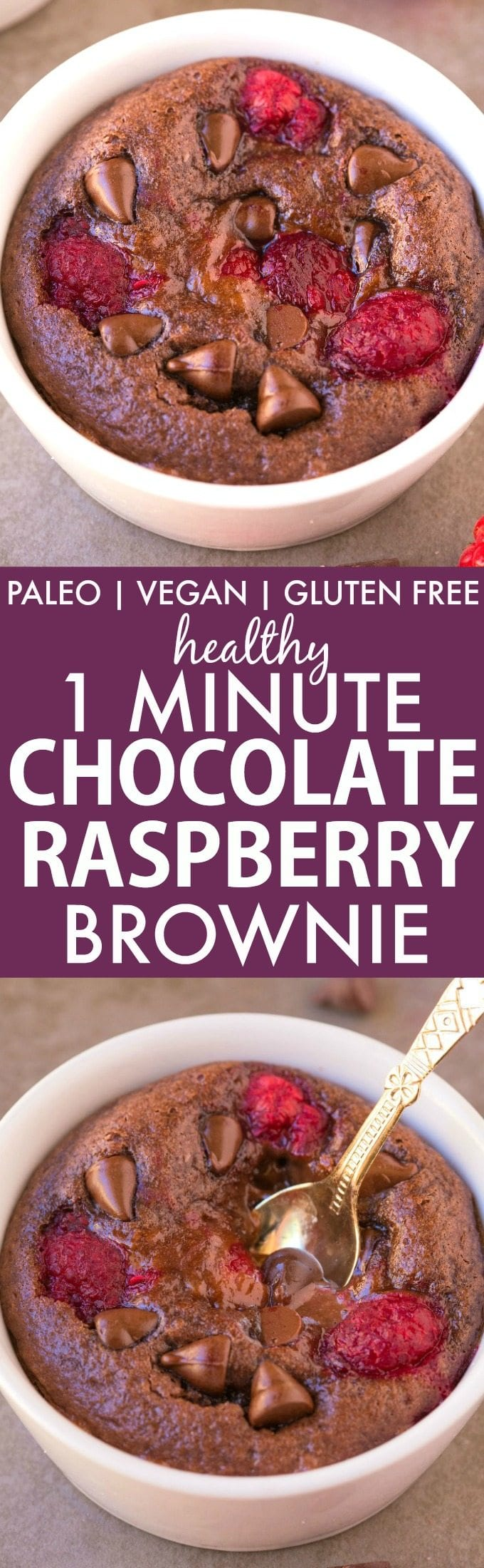 Healthy 1 Minute Chocolate Raspberry Brownie (Paleo, V, GF, Low Carb)- Moist, gooey, quick and easy dessert or snack! Flourless, grain free and single serving! Loaded with chocolate, raspberries and perfect for Valentine's day too! Oven option included! {vegan, gluten free, sugar free, paleo recipe}- thebigmansworld.com
