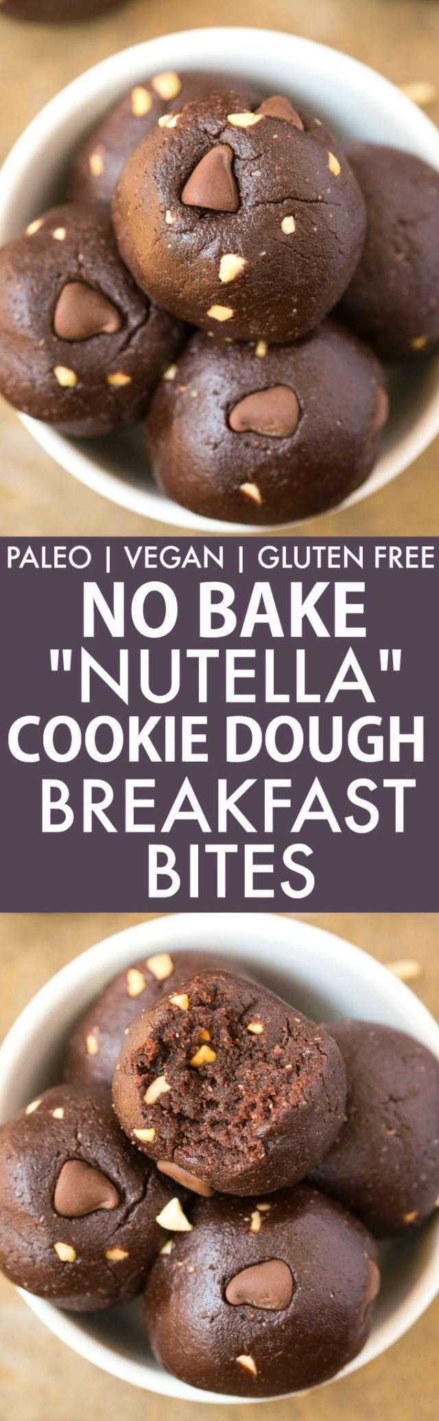 "Healthy No Bake ""Nutella"" Cookie Dough BREAKFAST Bites (GF, V, Paleo)- Quick, easy and delicious no bake bites which take minutes to whip up and like having a guilt-free, protein packed dessert for breakfast! Dairy free and refined sugar free! {vegan, gluten free, paleo recipe}- thebigmansworld.com"