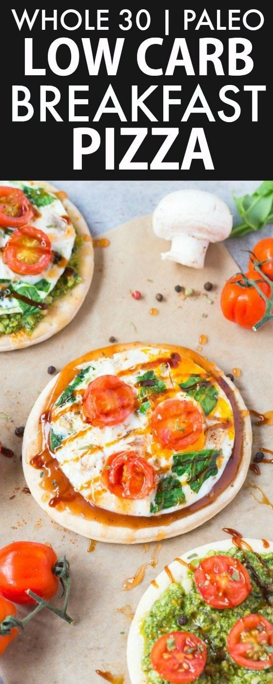 Healthy Low Carb Breakfast Pizzas (Whole30, Paleo, GF)- Whole30 compliant breakfast pizzas! Quick, easy and customizable- Low calorie and packed with protein- No oven needed, the crusts are made stovetop! Thin, chewy crusts topped with savory toppings of choice! {whole30, paleo, gluten free, grain free recipe}- thebigmansworld.com