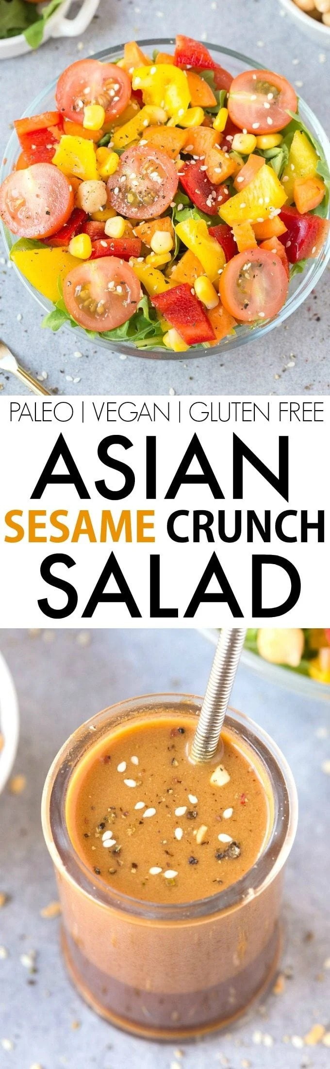 Healthy Asian Sesame Crunch Salad (V, GF, Paleo)- The BEST clean eating dressing ever, perfect to top on this texture perfect salad loaded with flavor! {vegan, gluten free, paleo, whole 30 recipe}- thebigmansworld.com